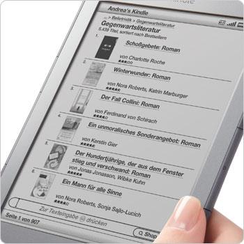 Kindle 4 mit deutschen Menüs und deutschsprachiger Oberfläche (Bild: Amazon)