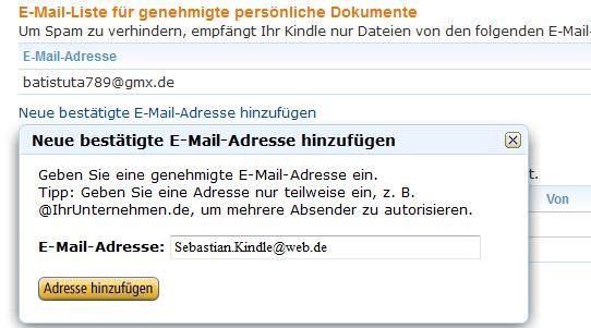 Neue E-Mail-Adresse registrieren