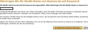 Das Amazon.de-Konte übertragen