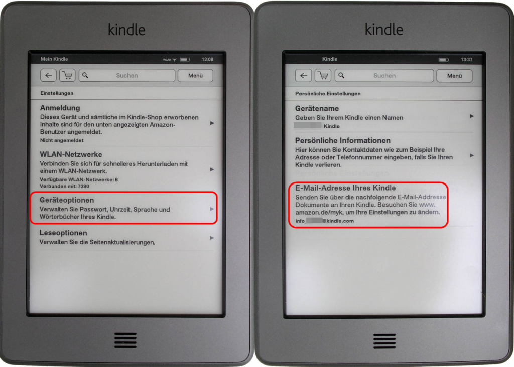 E-Mail-Adresse beim Kindle Touch finden