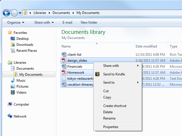 """Mit der Anwendung """"SendToKindle"""" transferiert man Dokumente blitzschnell per Rechtsklick auf den eReader (Bild: Amazon)"""