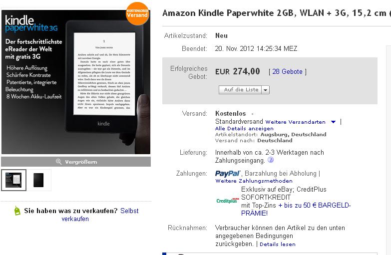 Kindle-Paperwhite-Versteigerung