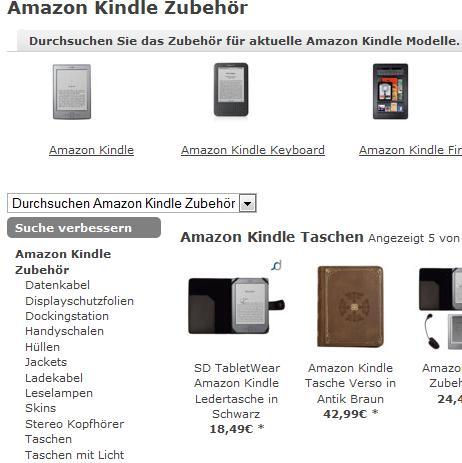Auch in anderen Online-Shops gibt es Kindle-Zubehör