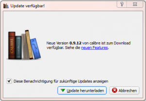 Calibre Update Hinweis (Screenshot)