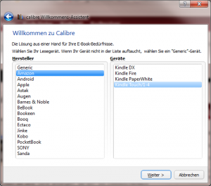Calibre Willkommens-Assistent (Screenshot)