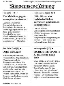 Die Startseite der Süddeutschen auf dem Kindle