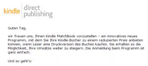 Amazon-Mail an KDP-Autoren zum Start von Matchbook