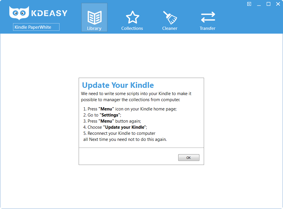KDeasy (2): Vor der Verwaltung muss der Kindle modifiziert werden