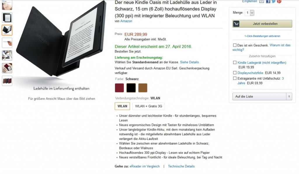 Kindle-Oasis-Seite bei Amazon
